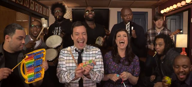 Idina Menzel, Jimmy Fallon and The Roots Perform the Ultimate Version of 'Let it Go' With Classroom Instruments